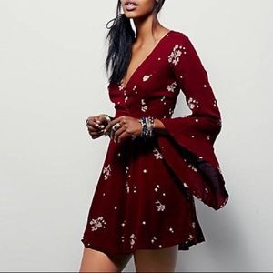 Free People Jasmine embroidered red dress
